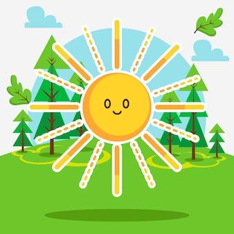 森の中のかわいい太陽
