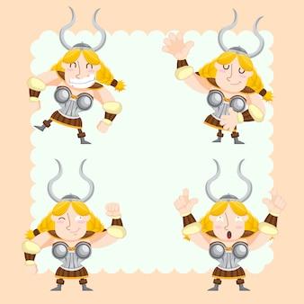 Симпатичные викинги векторный набор