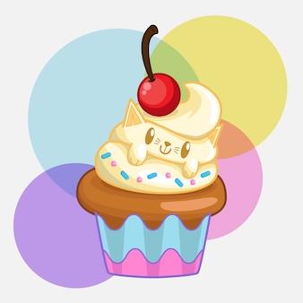 かわいい猫のカップケーキ
