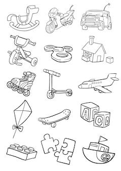 おもちゃセットの漫画の落書き