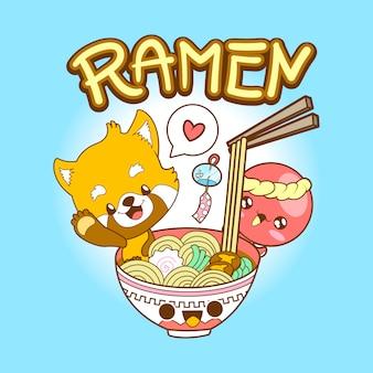 日本のかわいいカワイイレッドパンダとタコがラーメンを食べる