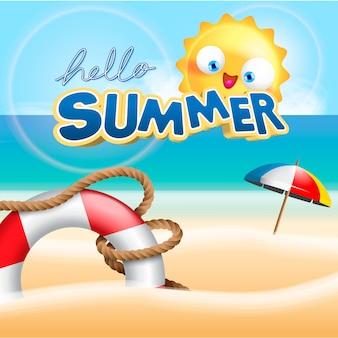 Летние каникулы на пляже фоне иллюстрации