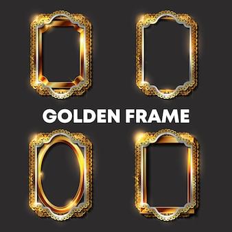 Декоративные винтажные золотые рамки и бордюры