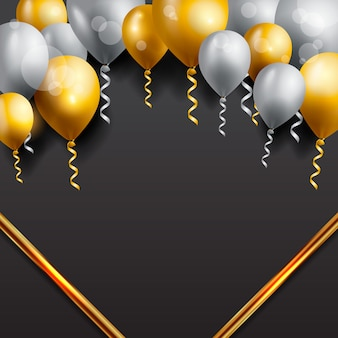Поздравительная открытка с воздушными шарами