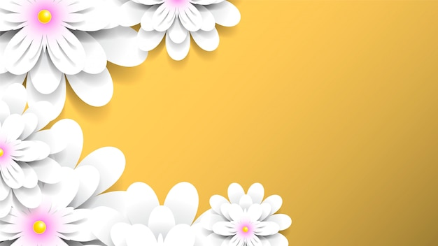 Желтый фон с реалистичными белыми цветами