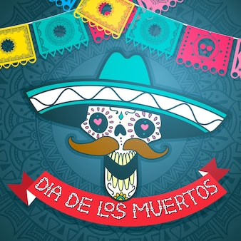 メキシコの砂糖の頭蓋骨、死んだイラストの日