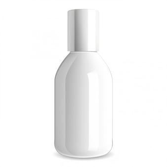 白い化粧品ボトル。光沢ガラス包装