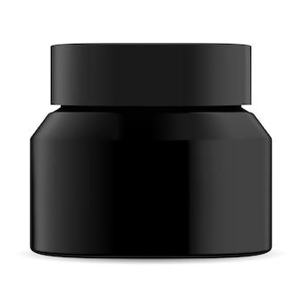 黒い化粧品の瓶。クリームボトルモックアップブランク