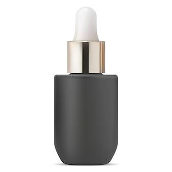血清ドロッパーボトル。黒の化粧品オイルドロップバイアル