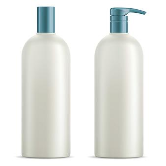 化粧品ボトルセット。シャンプー、シャワージェルパッケージ