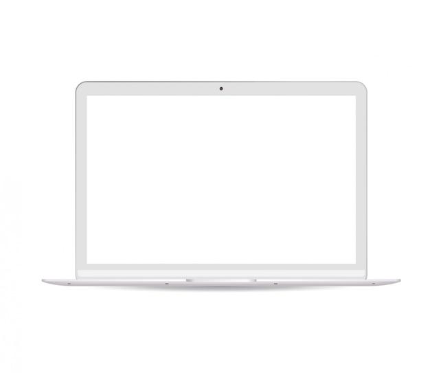 白い液晶画面を持つポータブルノートパソコン