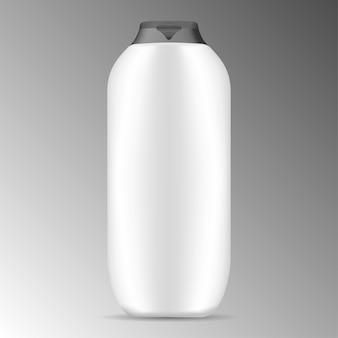 Белая современная бутылка шампуня с черной крышкой