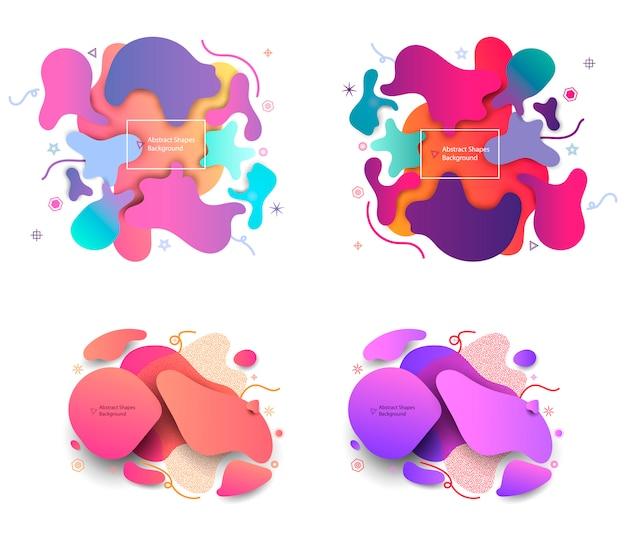 パズルスタイルの液体図形抽象的な背景。