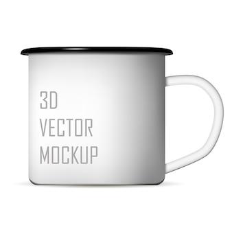 コーヒーまたは紅茶用のホワイトエナメルメタルキャンプマグカップ。