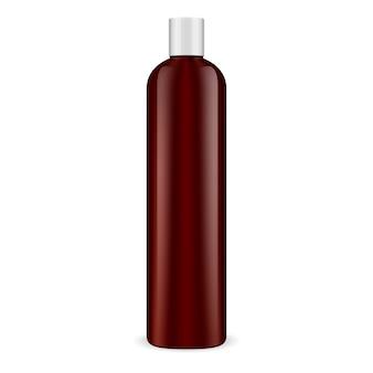 Коричневая косметическая бутылка. контейнер для шампуня.