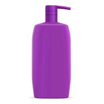 Фиолетовая бутылка шампуня. детская косметика для волос