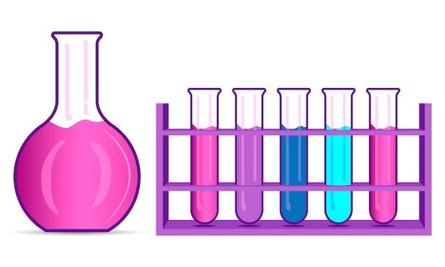 化学フラスコとビーカーセット。フラットの図