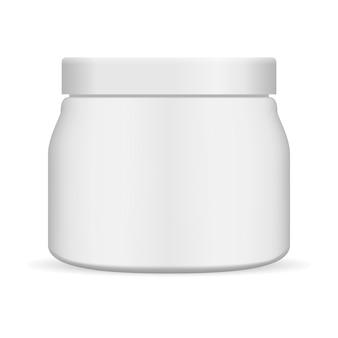 Косметическая кремовая банка. матовый пластиковый контейнер вектор