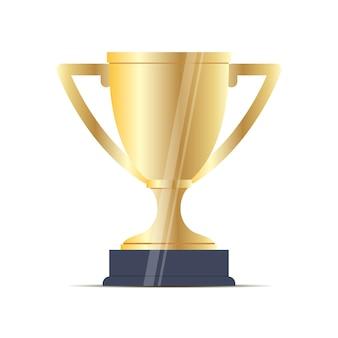 スポーツカップゴールドフラットベクトル。ゴブレット受賞者の報酬