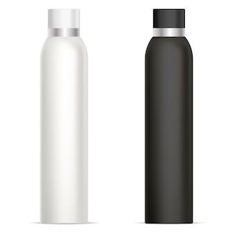 消臭スプレーボトル。化粧品の錫モックアップ。