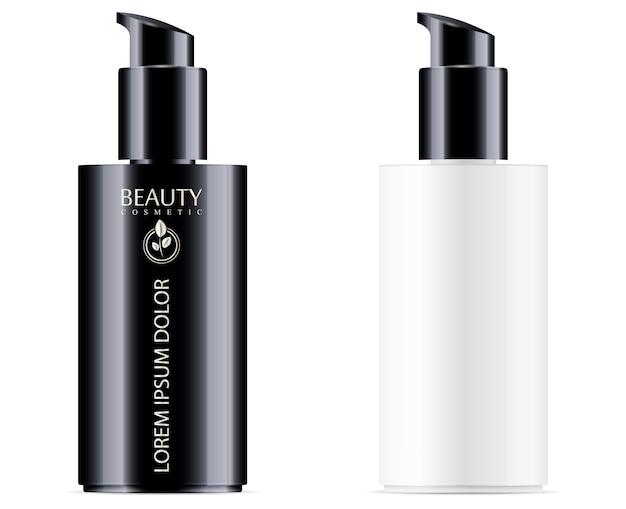 保湿剤や顔の液体製品のための黒のポンプディスペンサーのふた付きの白黒化粧品ボトル。