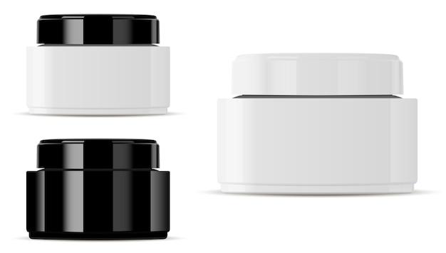 ガラス化粧品ジャーモックアップ。丸いベクトルコンテナー。