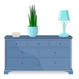 箪笥、ベッドサイドテーブル。ベクター。家具