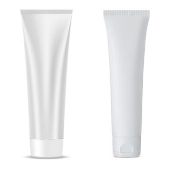クリームチューブセット白い化粧品容器ブランク。