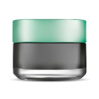 Баночка кремового матового стекла. косметический продукт по уходу за лицом.