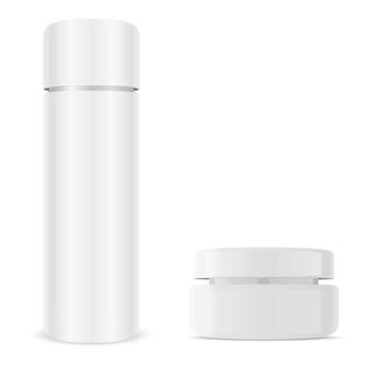 Крем баночка, косметический набор бутылок. стеклянная упаковка