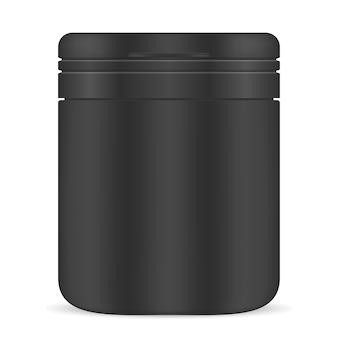 空白の薬瓶。黒いプラスチックの瓶薬サプリメント