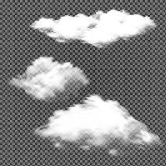 白い雲が分離されました。スカイエアークラウドデザイン。ベクター