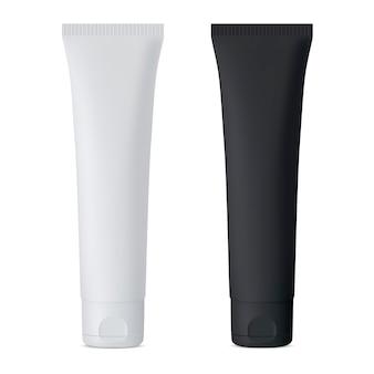 化粧品クリームチューブ。黒と白のベクトルモックアップセット。