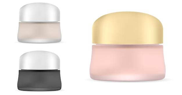 Круглая белая матовая пластиковая банка с металлической крышкой. косметический