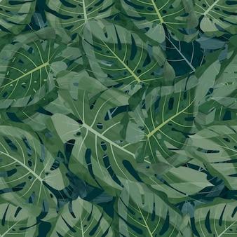 Бесшовные вектор тропический лист фон зеленый