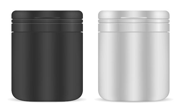 薬瓶セット。プラスチック製の薬品容器。ジャー