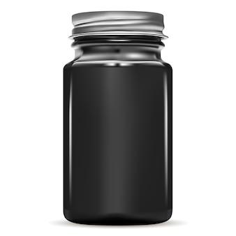 Черная бутылка. стеклянная медицинская банка. флакон с лекарством