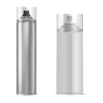 スプレー缶。アルミエーロゾルチューブベクトルの瓶