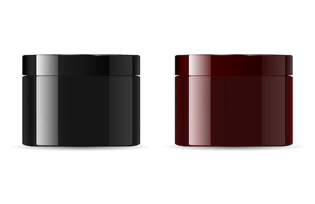 化粧品の瓶の包装。黒褐色
