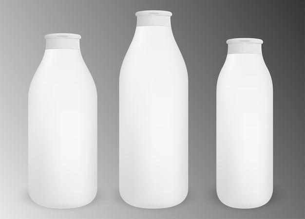 化粧品用の異なるサイズの空白の白い丸ボトル
