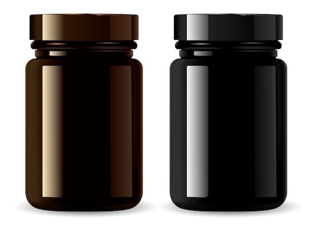 薬瓶。黒化粧品包装