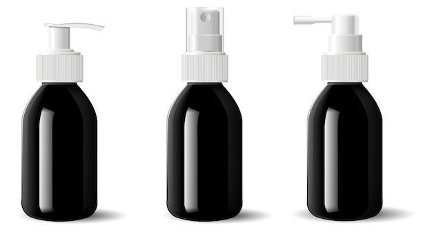 Реалистичное черное глянцевое стекло косметическая бутылка