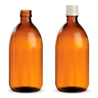 Коричневая медицинская бутылка, флакон из янтарного стекла,