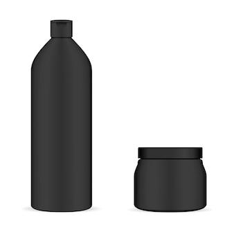 黒化粧品包装のセット。ボトルとジャー。