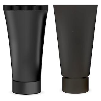 ブラッククリームチューブ。ボディ化粧品パッケージ