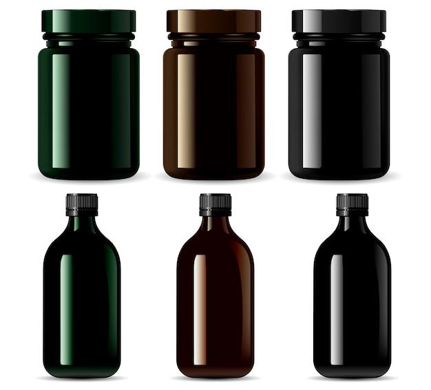 黒いボトル、薬の包装
