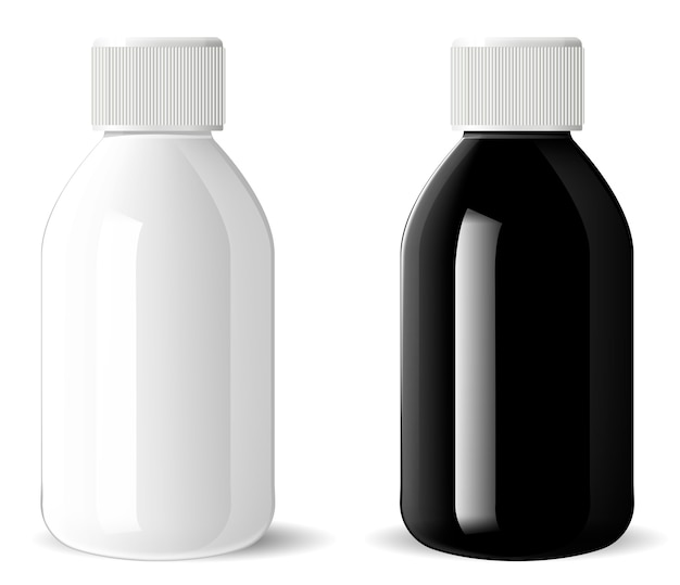 Глянцевая стеклянная бутылка. медицинский косметический флакон
