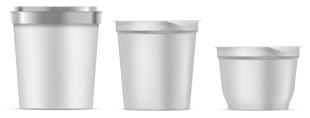 アイスクリームパッケージ。空白の食品バケットカップ