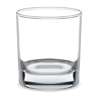 Пустой стакан. прозрачный бокал для виски. изделия из стекла
