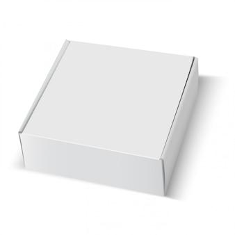 ボックス空白の白い段ボールパッケージの正方形